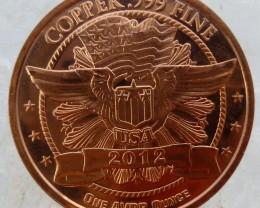 USA .999 PURE COPPER BEAR ONE OUNCE  MEDALLION CO1342
