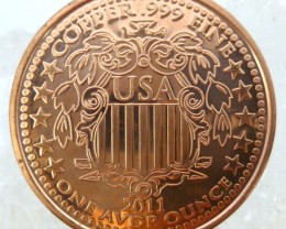.999 PURE COPPER LIBERTY 2011 ONE OUNCE  MEDALLION CO1343 ML