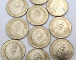PARCEL 10 UNCIRCULATED 1978 20 CENTAVOS COIN J 1983