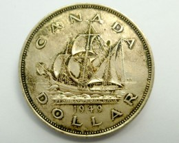 1949  CANADIAN ONE DOLAR 800 SILVER COIN CO949