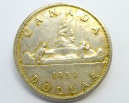 1959 CANADIAN ONE DOLLAR 800 SILVER COIN CO 905