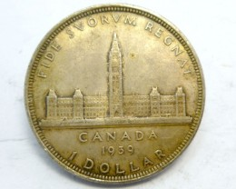 1939 CANADIAN ONE DOLAR 800 SILVER COIN CO  908