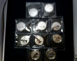 TEN UNC 2011 CANADIAN $20.00 CANOE SILVER COIN  CO 919