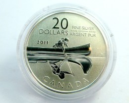UNC 2011 CANADIAN $20.00 CANOE SILVER COIN  CO 920ML