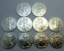 10 X 2011  UNC  AMERICAN SILVER EAGLE  SILVER COIN  CO933