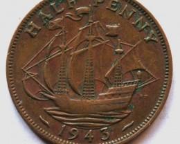 Half Penny - George VI 1943 KM#844