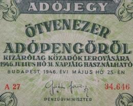 Hungary Ötvenezer (50.000) Adópengő 1946.  Pick: 138a