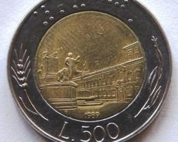 Italy 500 Lire Bi-Metal 1989 KM#111