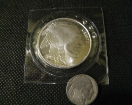 Silver Bullion Round 1Troyoz. Buffalo Nickel coin New 2012