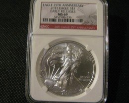 2011 25Th Anniversary Silver American Eagle Early Release