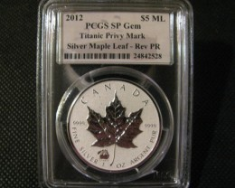 2012Canada RARE Reverse-Proof Silver Maple Leaf