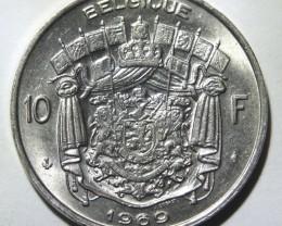Belgium 10 Francs Baudouin I. (Dutch text) 1969 KM#156