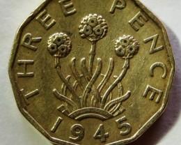United Kingdom 3 Pence-George VI. 1945 KM#849