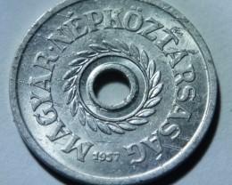 Hungary 2 fillér hole 1957 KM#546