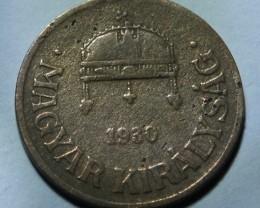 Hungary 1 Fillér 1930 Kingdom of Hungary KM#505
