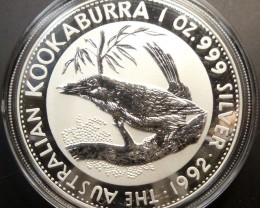 1992 AUSTRALIAN  KOOKABURRA ONE OUNCE SILVER   COIN