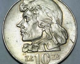 Poland 10 Zlotych (small type) 1970 Y#50a