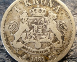 1881 KRONA   SWEDISH   SILVER COIN CO 1406