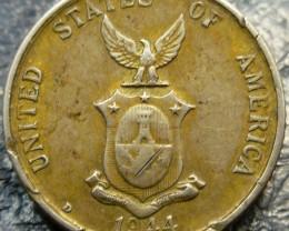RARE 1944 20 CENTAVOS    SILVER COIN CO 1412