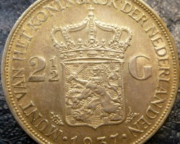 1937 HOLLAND  2/12 G .720     SILVER COIN CO 1419