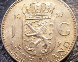 1957 HOLLAND 1 G 720     SILVER COIN CO 1424