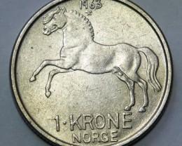 Norway 1 Krone-Olav V. 1963 KM#409