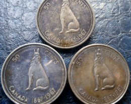 PARCEL THREE 1967 HOWLING WOLF 50 CENTS SILVER  CO 1452