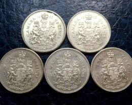 PARCEL 5 196 1-62 HALF DOLLARS  50 CENTS SILVER  CO 1461