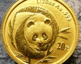 2003 1/20th  gold panda bear coin   CO1455