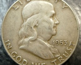 1953 SILVER FRANKLING DOLLAR  HALF DOLLAR  CO 1488
