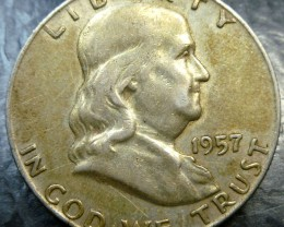 1957 SILVER FRANKLING DOLLAR  HALF DOLLAR  CO 1489