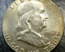 1962 SILVER FRANKLING DOLLAR  HALF DOLLAR  CO 1490