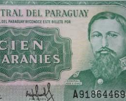 Paraguay, 100 Guaranies 1952 (1982) UNC
