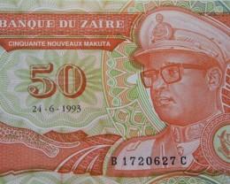 Zaire 50 Nouveaux Makuta 1993 UNC