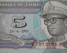 Zaire 5 Nouveaux Makuta 1993 UNC