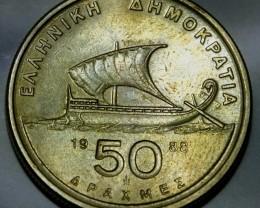 Greece 50 Drachmes 1988 KM#147