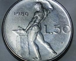 Italy 50 Lire 1980 (large type) KM#95.1