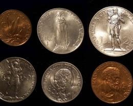 1936 VATICAN 8 COIN SET - Pope PIUS XI - IN BOX * VERY RARE*