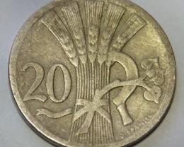 Checholslovakia 20 Haléru 1926 KM#1