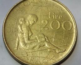 Italy 200 Lire (FAO) 1980 KM#107