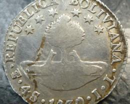 1830  Bolivia 4 Sol Silver Coin Boliva  CO1501
