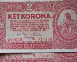 Hungary Két (2) Korona 1920 continuous numbers (piece:2)RARE