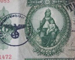 Hungary Tíz (10) Pengő 1936 Nazi stamp RARE+++++