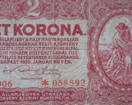 Hungary Két (2) Korona 1920