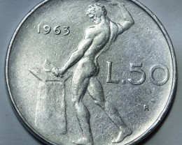 Italy 50 Lire 1963 (large type) KM#95.1