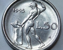 Italy 50 Lire (small type) 1995 KM#95.2