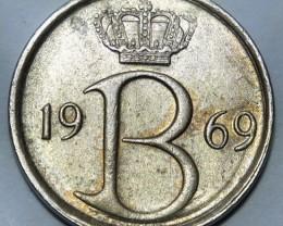 Belgium 25 Centimes 1969 Baudouin I. Dutch text KM#154