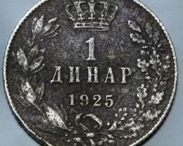 Yugoslavia 1 Dinar-Aleksandar I. 1925 KM#5