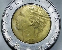 Italy 500 Lire Bi-Metal 1990 KM#111