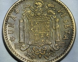 Spain 1 Peseta-Francisco Franco 1st portrait 1953 56 KM#775